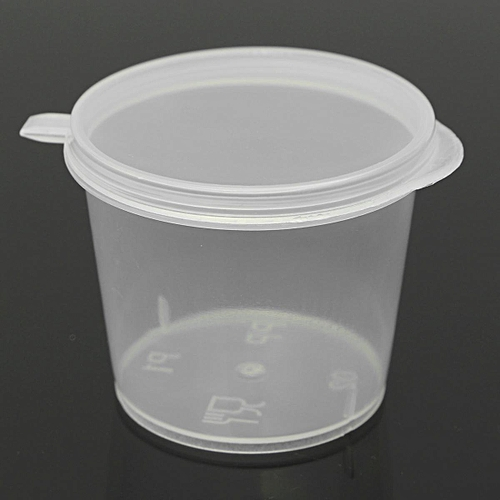 35ml 30/Set Small Plastic Sauce Cups Food Storage Containers Clear Boxes + Lids