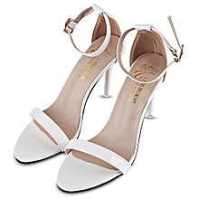 a621b36cceed5 Sexy Solid Color Shiny Ladies Thin High Heel Sandals-WHITE (UK Size)