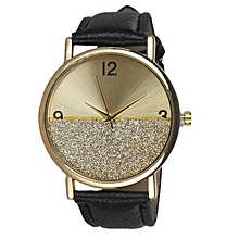 b5606f67514 Female Leather Wrist Watch With Gold Design - Black