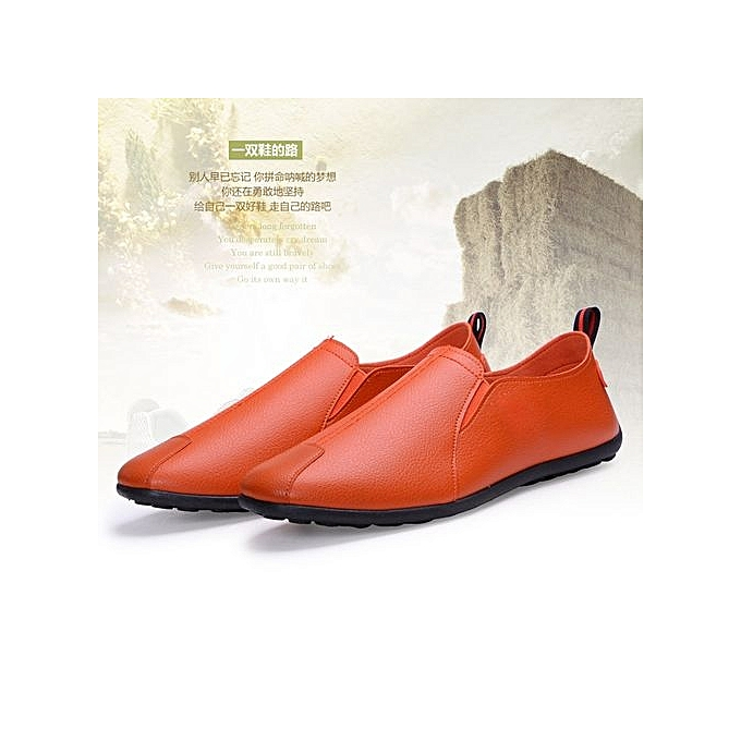 4663f33eefa7 Genuine Leather Mens Loafers Fashion Handmade Moccasins Cow Leather Men  Flats Orange Blue Slip On Male