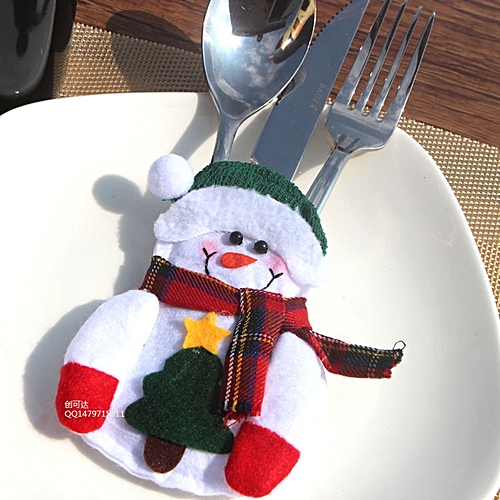 Abbyfrank 2 Pcs/Lot Christmas Snowman Table Ornaments Cutlery Bags Dinner Tableware Silverware Holder Decoration For Home Hotel Decoration