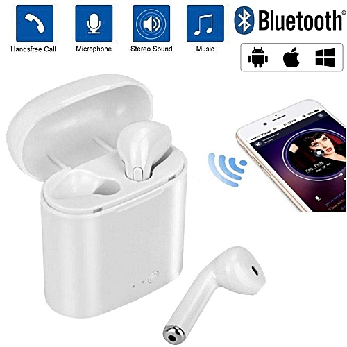 TWS True Wireless Commercial Bluetooth 4.2 Headset I7S In-ear Type Stereo Earphone - White