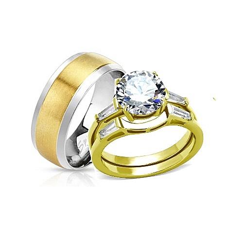 ACE Rosina IP Gold Plated Steel Wedding Ring Set 2