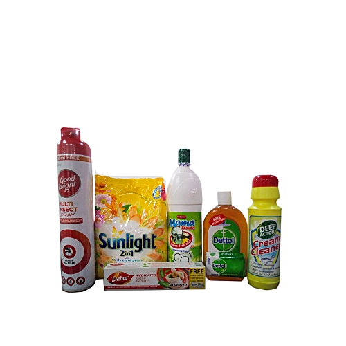 Super Household Combo Pack( Dabur Medicated Natural Toothpaste (140g+10gm Sachet) X 2,Mama Lemon Dish Washing Liquid (1100ml) Good Knight Multi Insecticide 700ml Deep Action Cream Cleaner- 500ml, Dettol Antiseptic Liquid Disinfectant Sunlight Detergent
