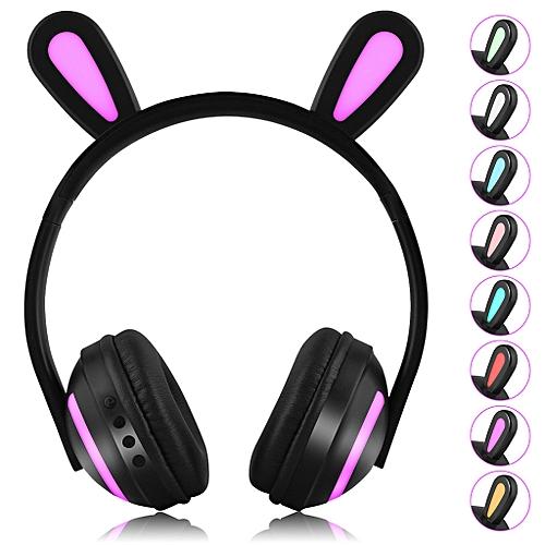 Rabbit Ears LED Seven-color Illuminated Stereo Headphone Bluetooth Headset