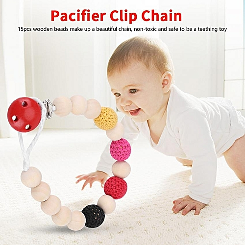 Infant Pacifier Soother Holder Crochet Wooden Beads Chain Metal Clip Baby Shower Feeding Toy