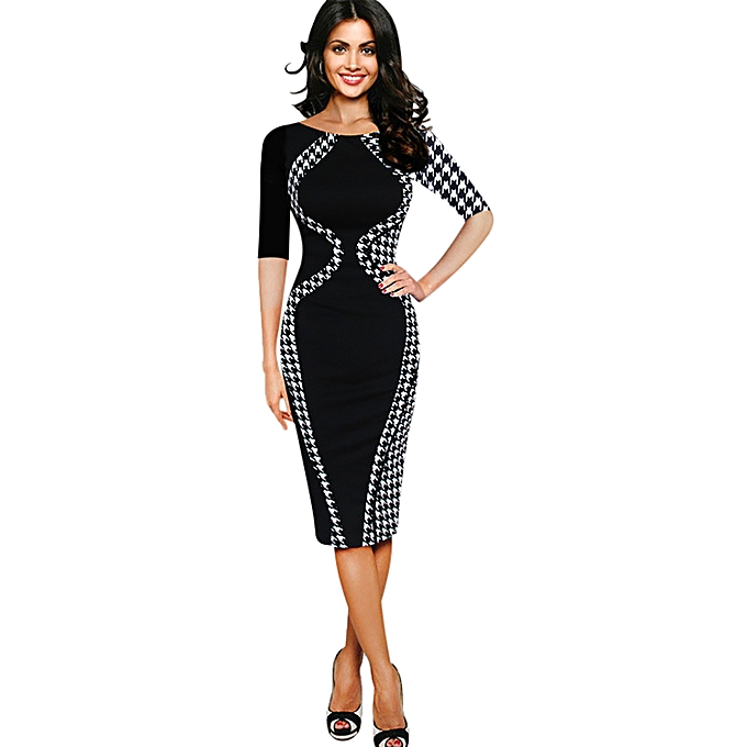 1b6753fe8f7 Womens Elegant Optical Illusion Patchwork Contrast 2017 Slim Casual Work Office  Business Party Bodycon Pencil Dress