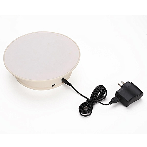 8'' White 360° Rotating Anti-slip Turntable Display Stand Power By AC & Battery