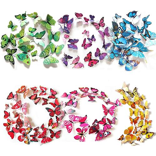 12pcs/lot 3d Pvc Wall Stickers Magnet Butterflies Diy Wall Sticker Home Decor (multicolor)