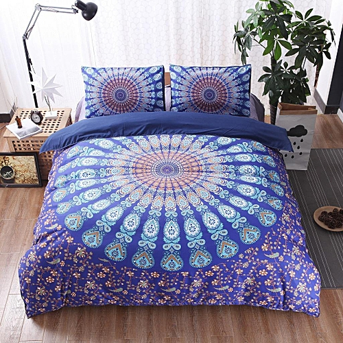 KCASA KC-BC88 3pcs Bed Set Home Mandala Bedding Set Queen Sheets Soft Twill Bohemian Print Duvet Cover With Pillowcases # 175*218cm