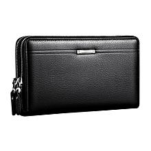 UJ Men Clutch Bag Long Purse Leather Wallet Lichee Handbag Double  Zippers-black e1cbb37c86b15