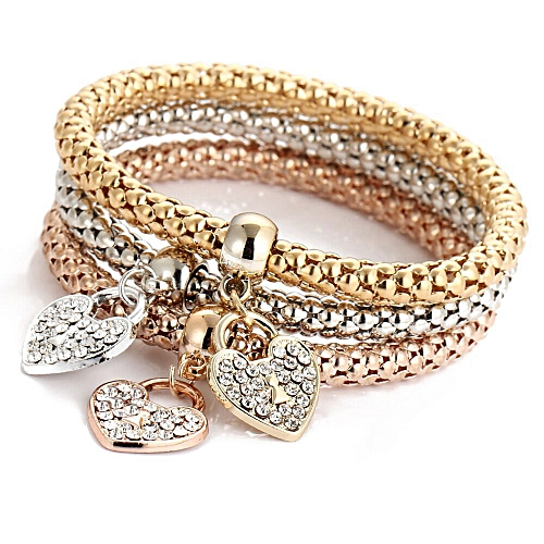Tectores 3pcs Charm Women Bracelet Gold Silver Rose Gold Rhinestone Bangle Jewelry Set Gift
