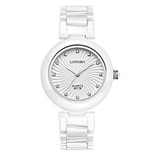 Watch Women LONGBO Luxury 2016 Elegant Super Slim Quartz Ceramic Watch Female Wrist Fashion Casual Rose Gold Dress Watch  (Silver&White)