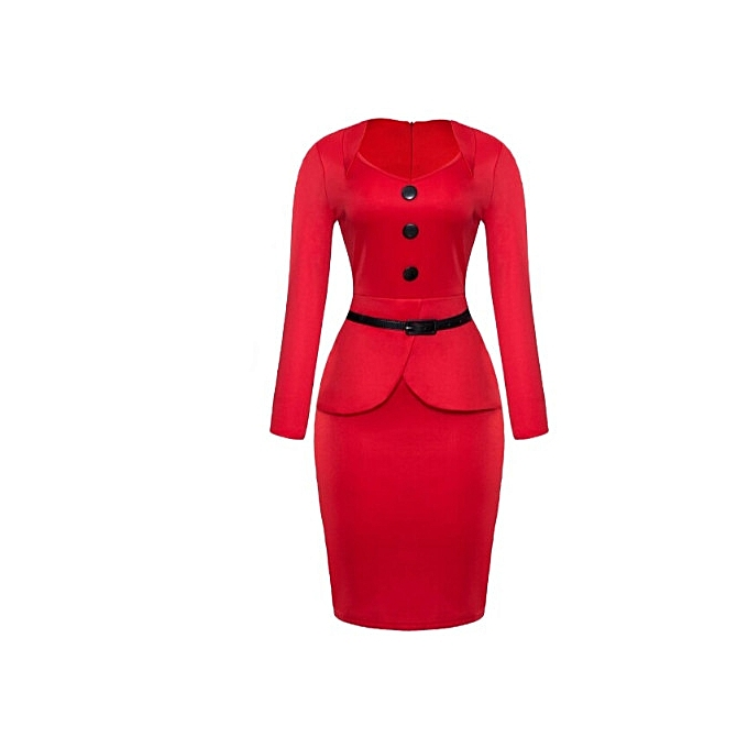 Buy Fashion Ladies Cute Red Front Peplum Gown With Bottons And Black ...