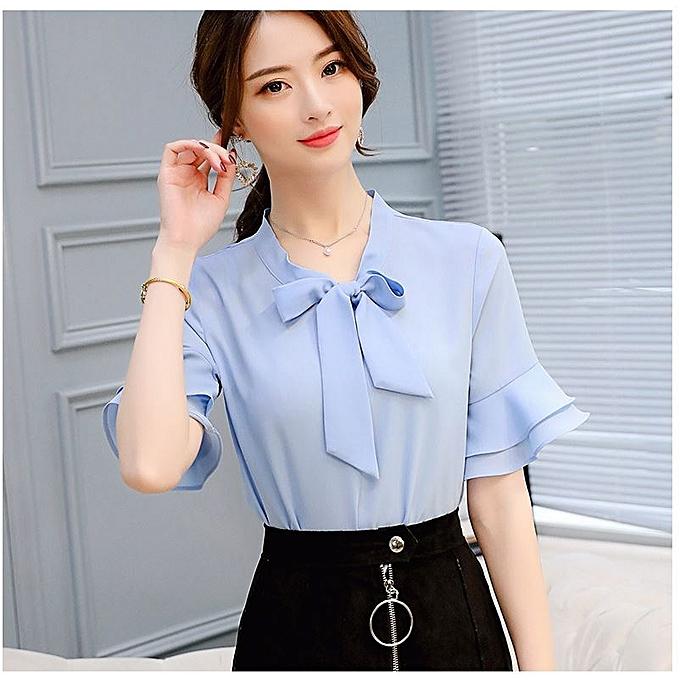 75149b82ec5bdc Fashion Formal Plain Sexy Short Sleeve Chiffon Shirt With Bow- Blue ...