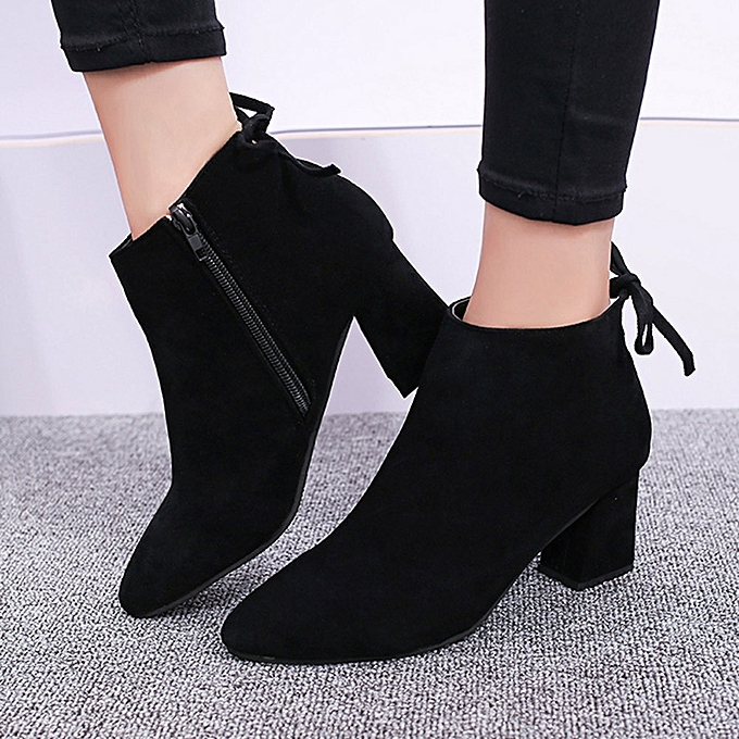 ea768adf77213 Women Boots Square Heel Lace Up Ankle Boots Martin High Heels Platform Boots(UK  Size