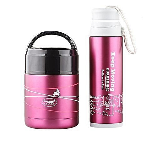Eurosonic Food And Water Flask Combo - Pink