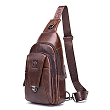 dfdf9a7596a3 Bullcaptain Genuine Leather Bag Vintage Sling Bag Chest Bag For Men