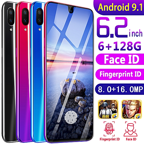 "Face Recognition 6.2"" MTK6592 6G RAM+128GB ROM Android OS 9.1 Camera 16MP"