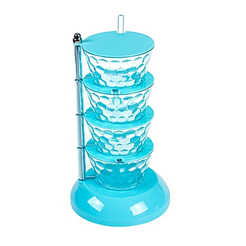 Creative Crystal Seasoning Box Multi-Layer 360 Degrees Can Be Rotated 4 Layer Blue