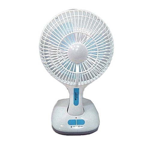 Rehargeable Foldable Table Fan With USB And Led - 12 Inches