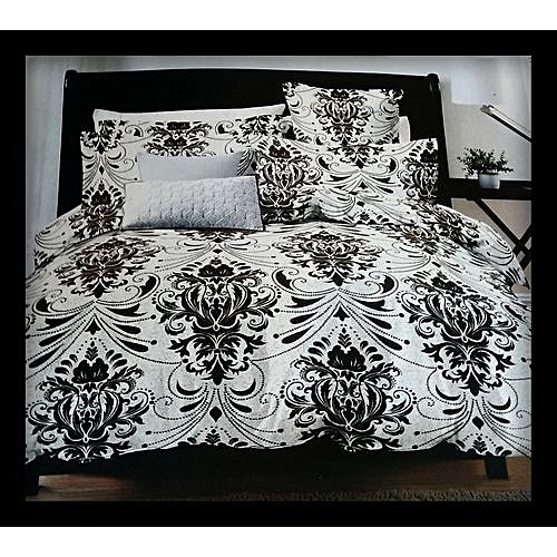 Bedsheets With 4Pillow Cases: Cream With Bold Brown Designs