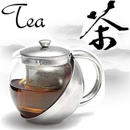 Stainless Steel Glass Teapot + Tea Leaf Herbal Infuser Strainer Filter 1100ml