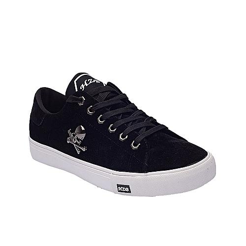 Bone Clip Suede Lace-up Sneakers - Black