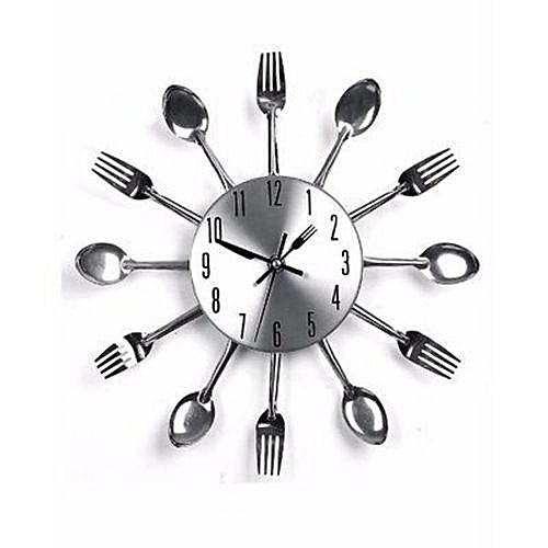Cutlery Kitchen Wall Clock - Silver