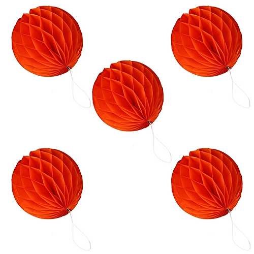 "5 Pcs 6 ""(15 Cm) Decorative Paper Honeycomb Flower Party Lantern Decor Orange"