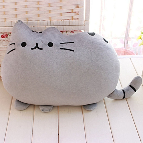 Comfortable Biscuit Cat Pillow Cushion Big Tail Small Cat Pillow Plush Toys Gray