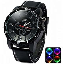 4e9bd9cb129 Black LED Light Waterproof Quartz Wrist Watch With Silicon Band - Black