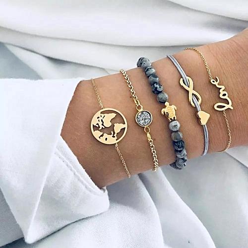 5 Pieces Set Ladies Alloy Bracelet Love Infinite Letter