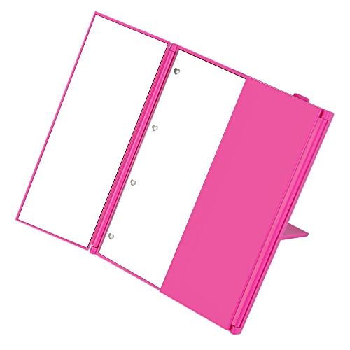 Toilet Three Folding Table LED Lamp Luminous Makeup Mirror - Rose Madder