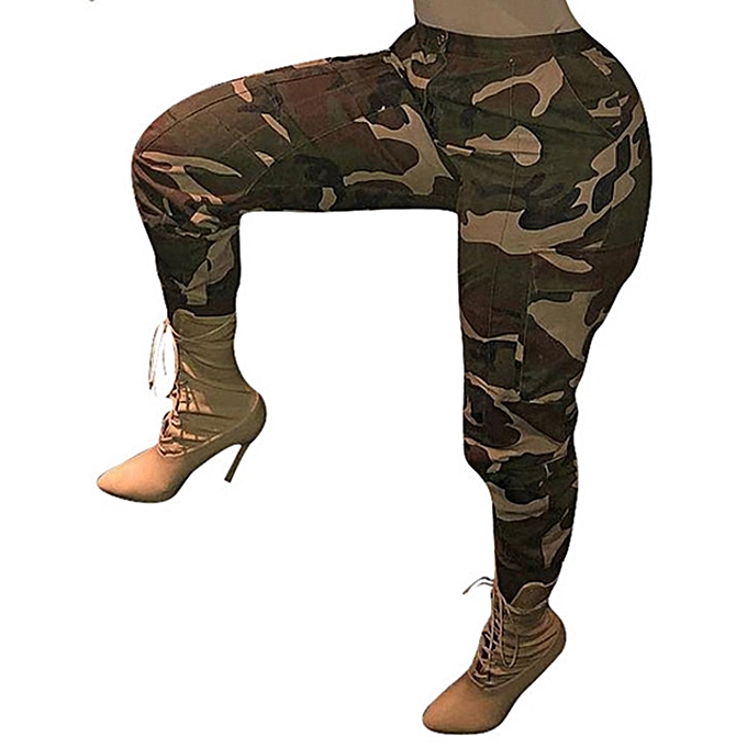 723af7326a3cf Fashion Style Womens Camouflage Pants Camo Casual Cargo Joggers Trousers  Hip Hop Rock Trousers