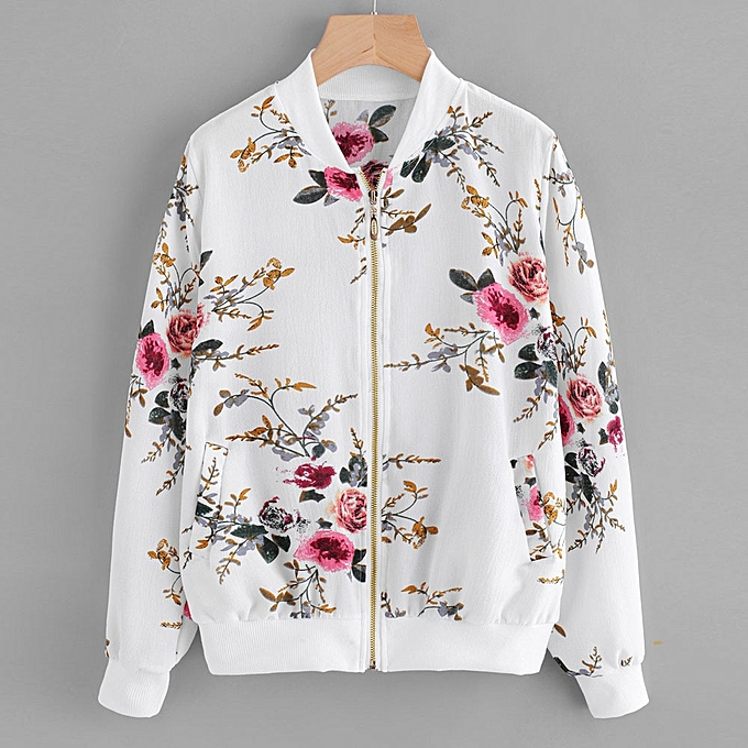 6c0079500659 Fovibery Womens Retro Floral Printing Zipper Up Bomber Jacket Casual Coat  Outwear