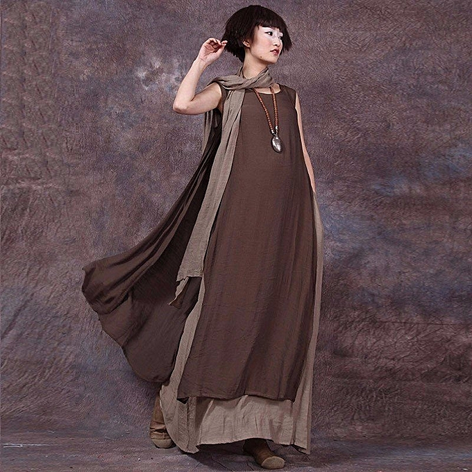 691ef537c8b ZANZEA Summer Women Vintage Dress Casual Loose Sleeveless Sexy Ladies O  Neck Boho Linen Long Maxi