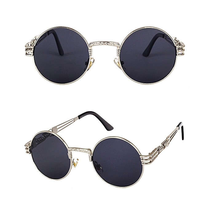 4295de7a5 ... Steampunk Round Sunglasses- Mirror Lens- Mens Vintage Retro Gothic Style  Sun Glasses-Silver ...