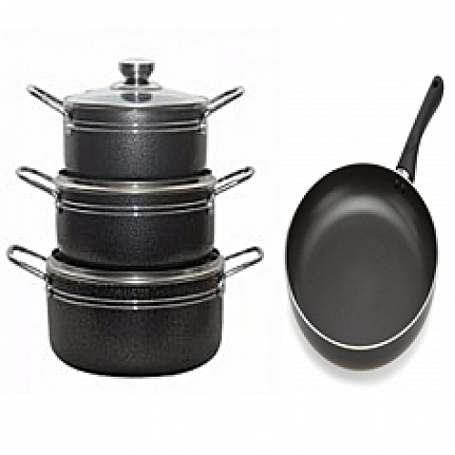 Non Stick Pot Set With Frying Pan - 4 Pcs With Free Gift.