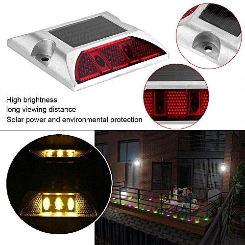 Aluminum Alloy Solar Power Waterproof 4 LED Lamp Outdoor Road Driveway Pathway Light Red