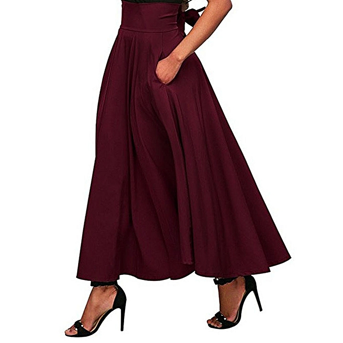 Checkeck Women High Waist Pleated A Line Long Skirt Front Slit Belted Maxi  Skirt RD M 3c381272b