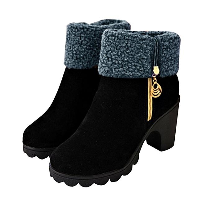 bcaafd5c43 TB Female Martin Shoes Women Boots Side Zipper Chunky Heels Ladies Black