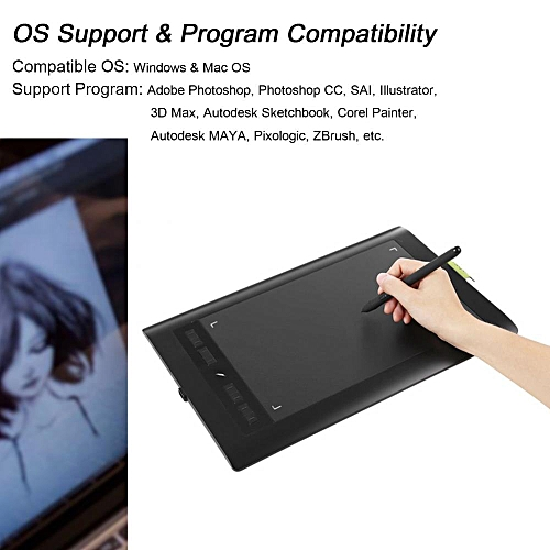 Portable Drawing Tablet Pad 5080LPI HD Art Graphics Tablet Monitor With 2048 Level Drawing Pen