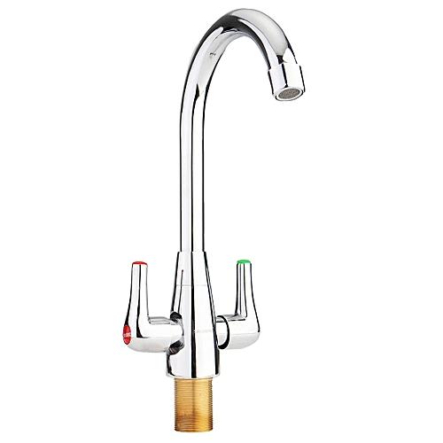Brass Chrome Finish Kitchen Sink Mixer Tap 360° Swivel Neck Double Handle New