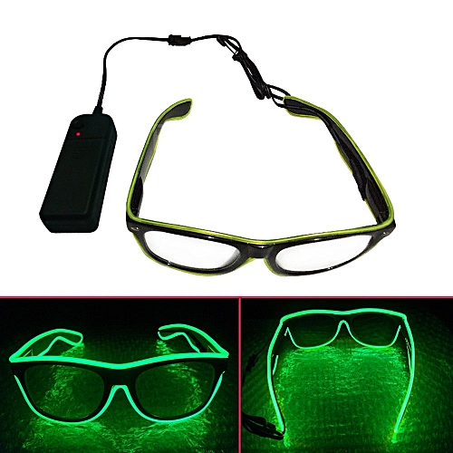 Smart Remote Control El Wire Neon LED Light Up Shutter Shaped Glow Sun Glasses Rave Costume Party DJ Bright Glasses