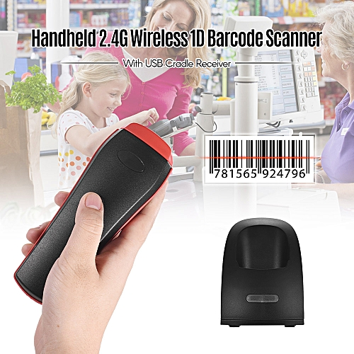 Handheld 2.4G Wireless 1D Barcode Scanner Bar Code Reader With USB Cradle Receiver Charging Base Long Transmission Distance For Mobile Payment Supermarket Store Logistic Computer Screen Scan