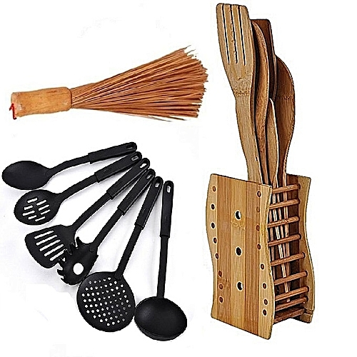 Bamboo Wooden Spoons Set + Big Wooden Ewedu/Draw Meshing Broom + Non-stick Cooking Spoons Set