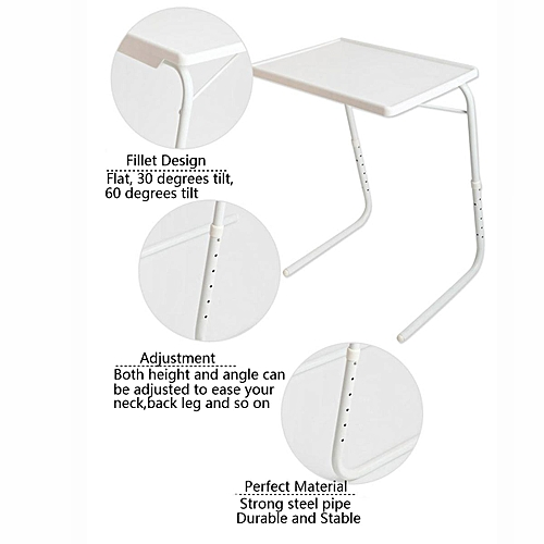 Adjustable Folding Table Dinner Coffee Laptop Table Mate Travelling Tray Tall