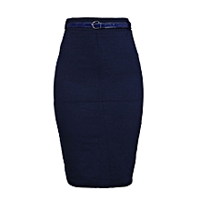 7bd9550f1 Bodycon Midi Skirt With Belt - Navy Blue