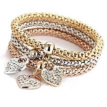 59f57f90cc3 Tectores 3pcs Charm Women Bracelet Gold Silver Rose Gold Rhinestone Bangle  Jewelry Set Gift